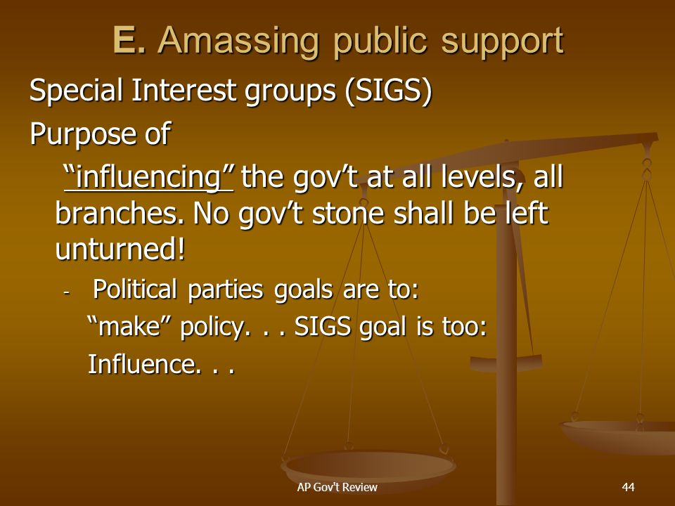 E. Amassing public support