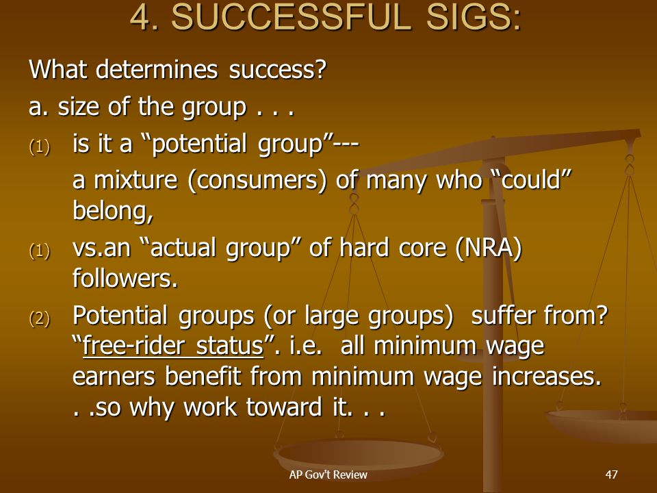 4. SUCCESSFUL SIGS: What determines success