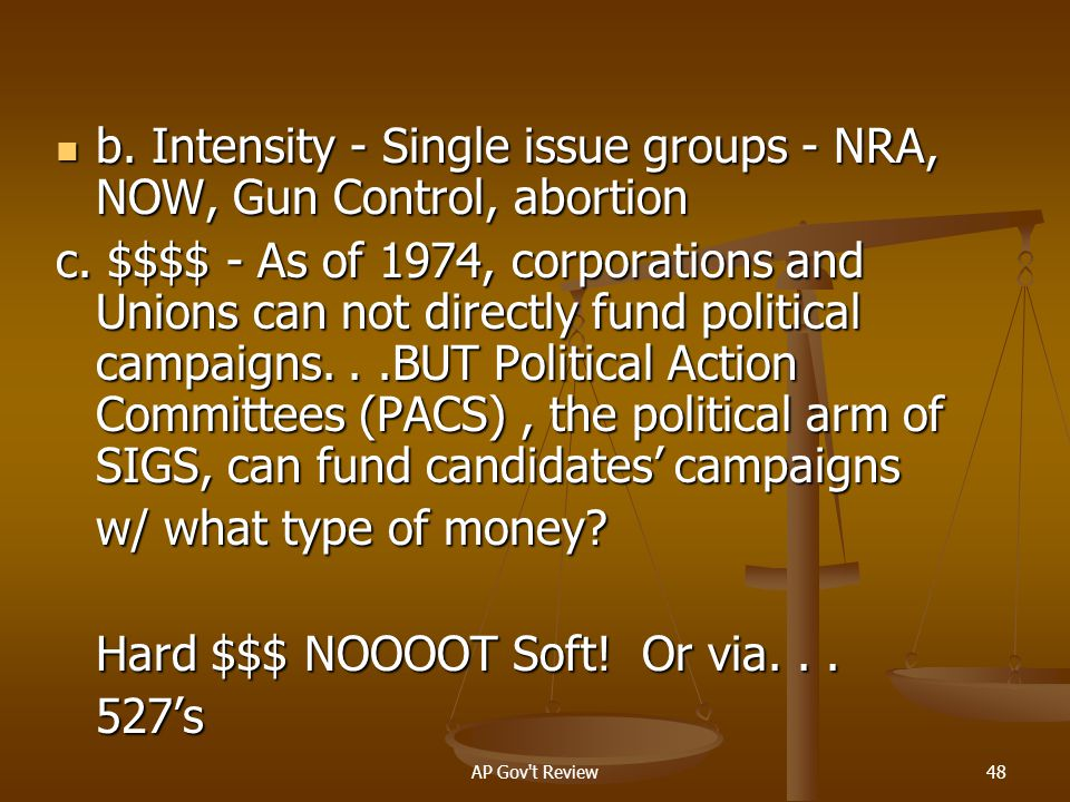 b. Intensity - Single issue groups - NRA, NOW, Gun Control, abortion