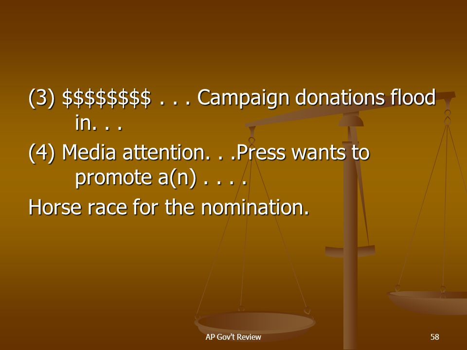 (3) $$$$$$$$. Campaign donations flood in. (4) Media attention