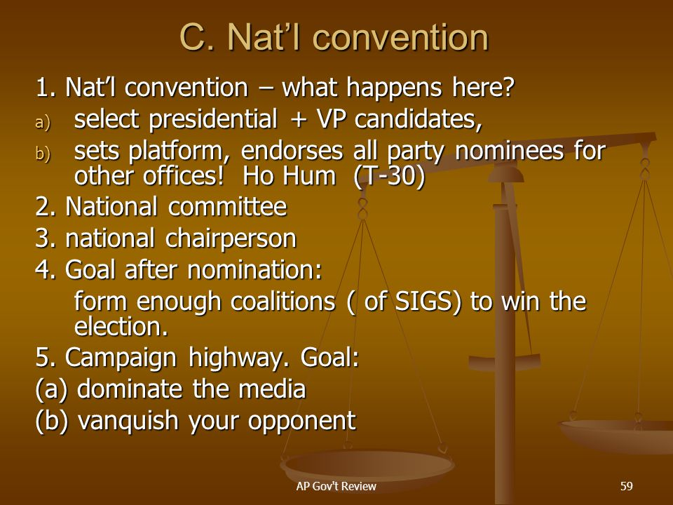 C. Nat'l convention 1. Nat'l convention – what happens here
