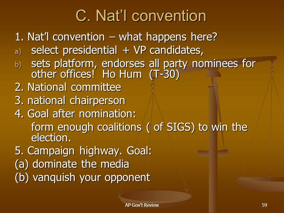 C. Nat'l convention 1. Nat'l convention – what happens here