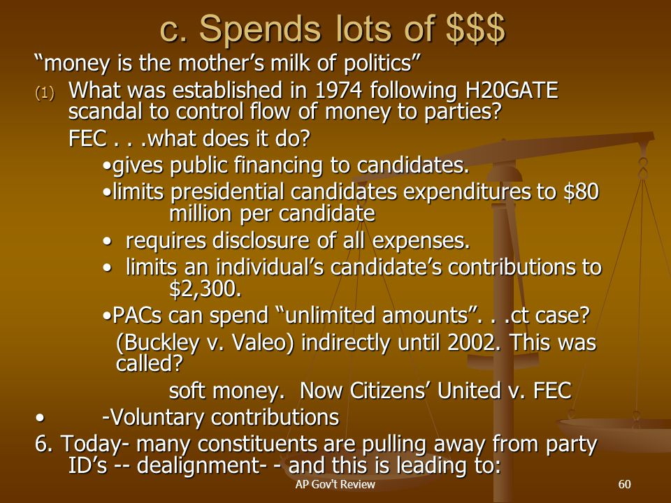c. Spends lots of $$$ money is the mother's milk of politics