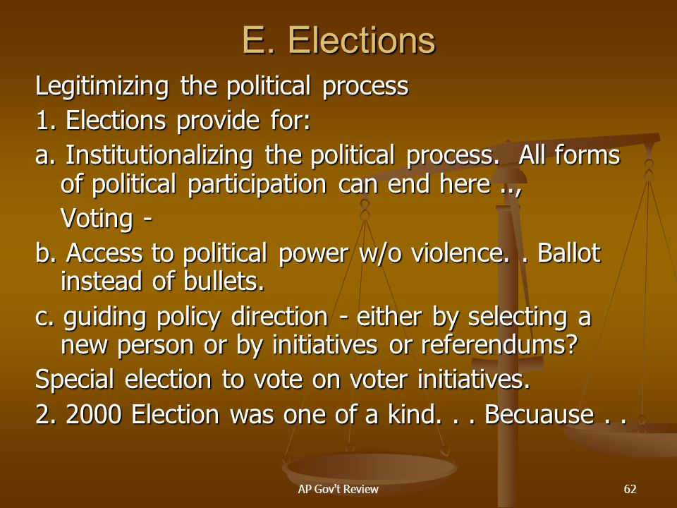 E. Elections Legitimizing the political process