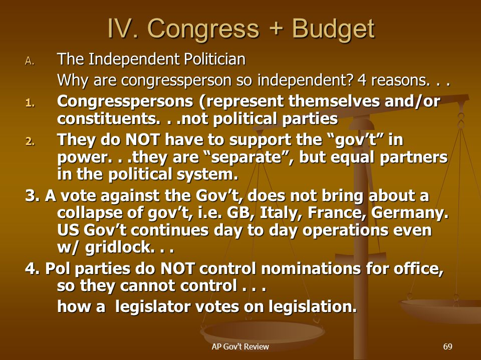 IV. Congress + Budget The Independent Politician