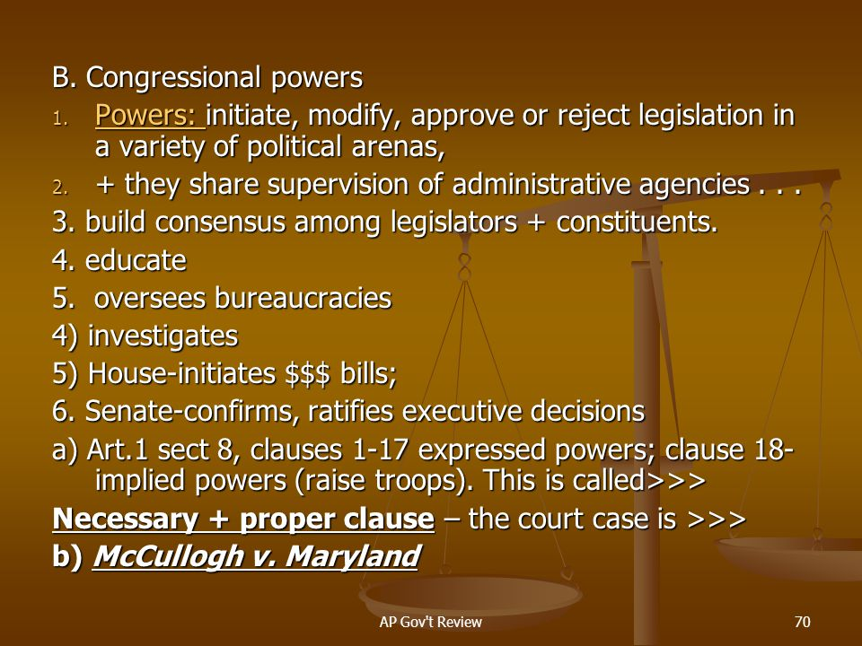 B. Congressional powers