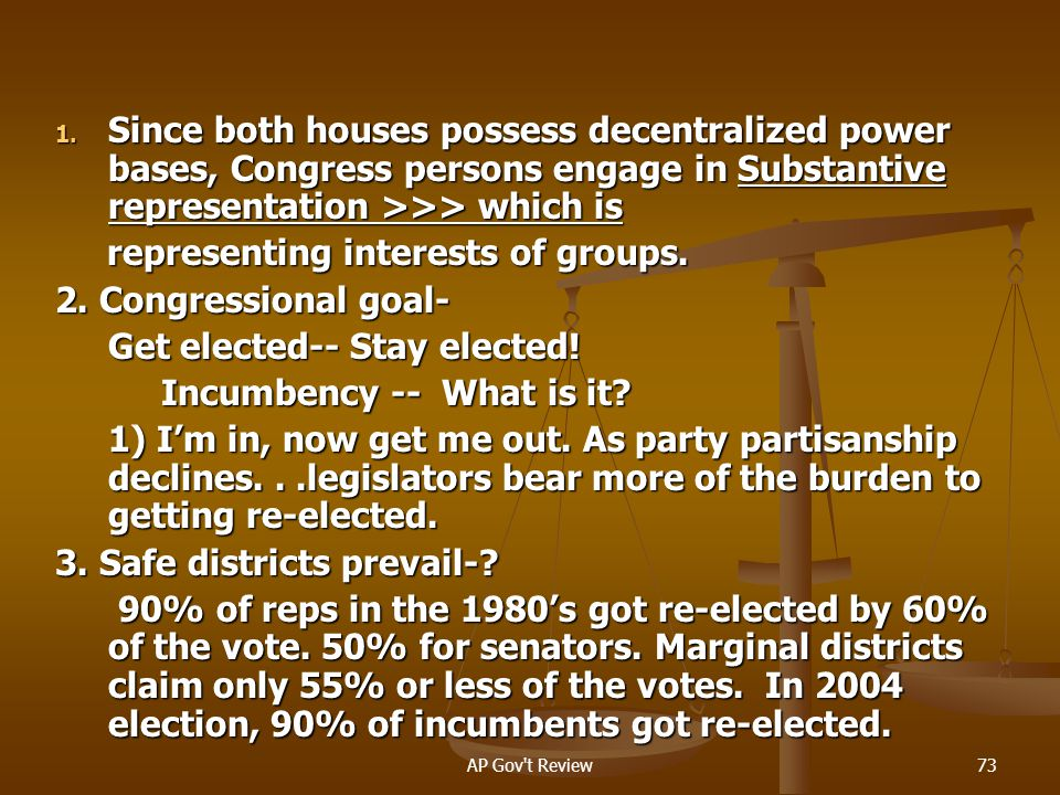 representing interests of groups. 2. Congressional goal-