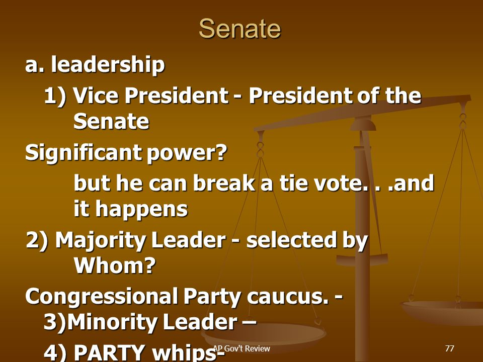 Senate a. leadership 1) Vice President - President of the Senate