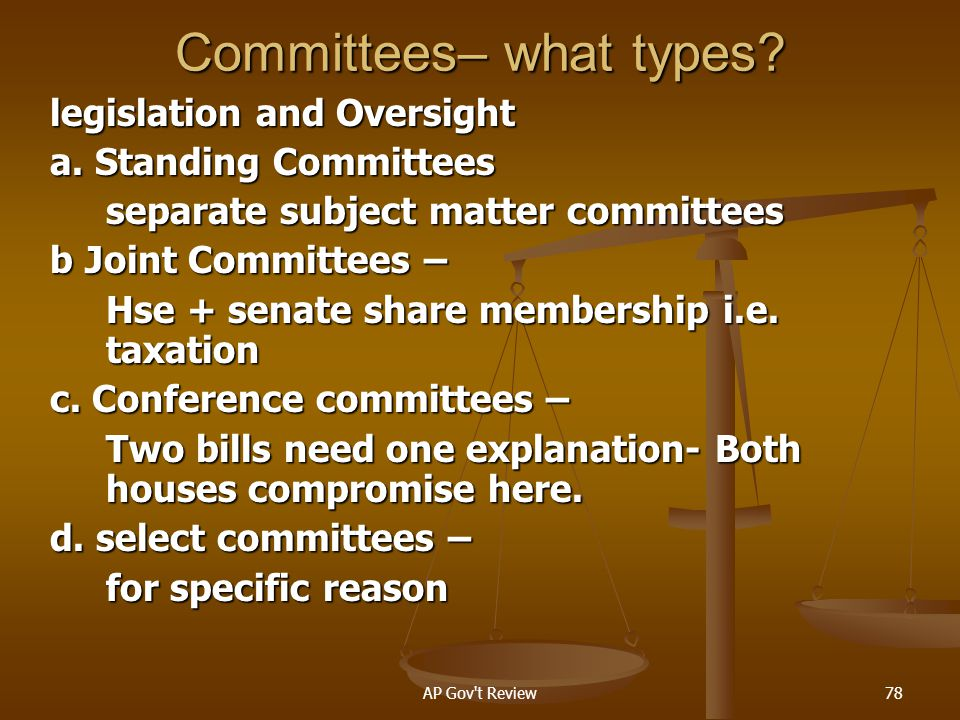 Committees– what types