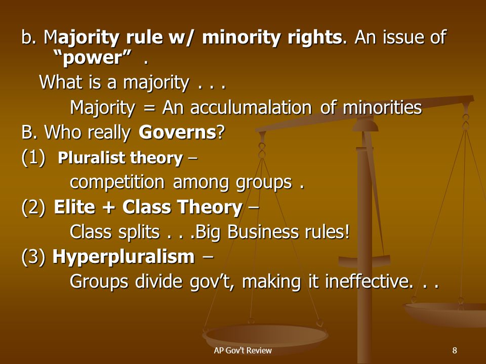 b. Majority rule w/ minority rights. An issue of power .