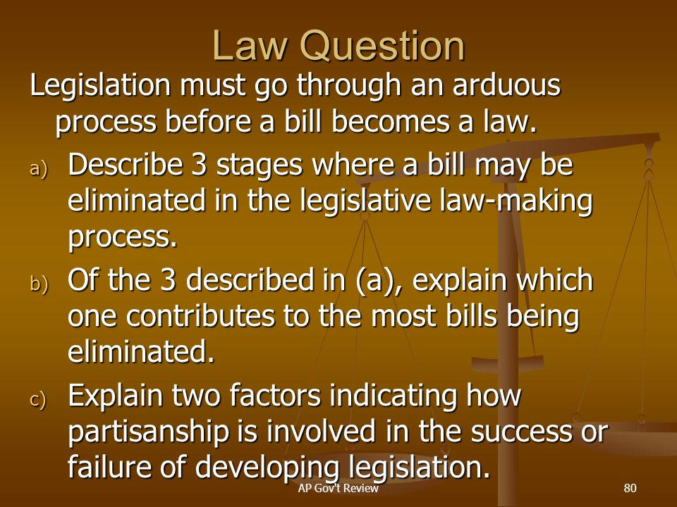 Law Question Legislation must go through an arduous process before a bill becomes a law.