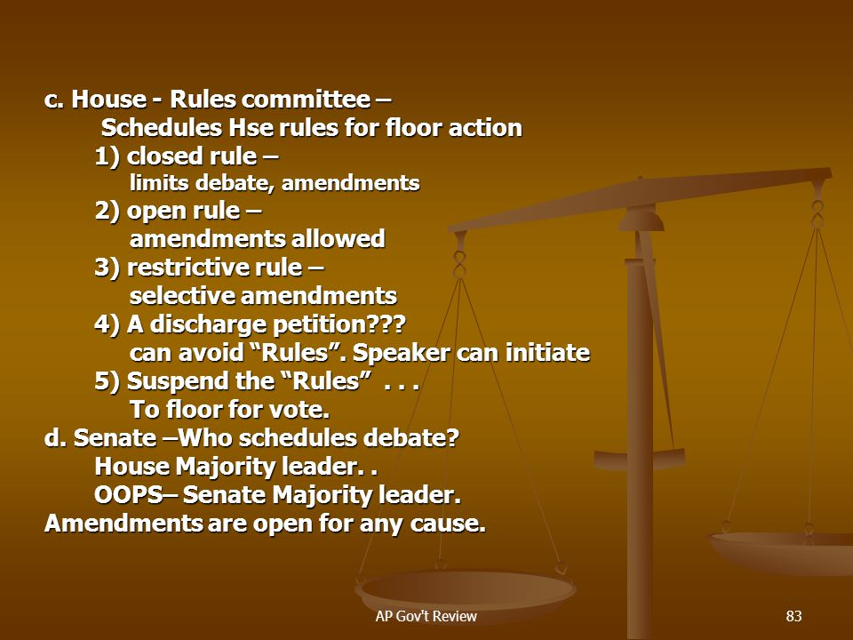 c. House - Rules committee – Schedules Hse rules for floor action