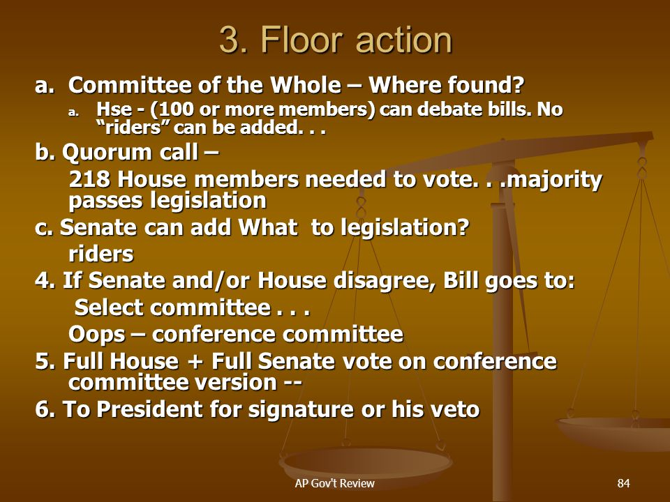 3. Floor action a. Committee of the Whole – Where found