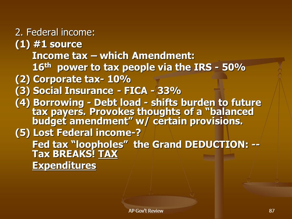 Income tax – which Amendment: