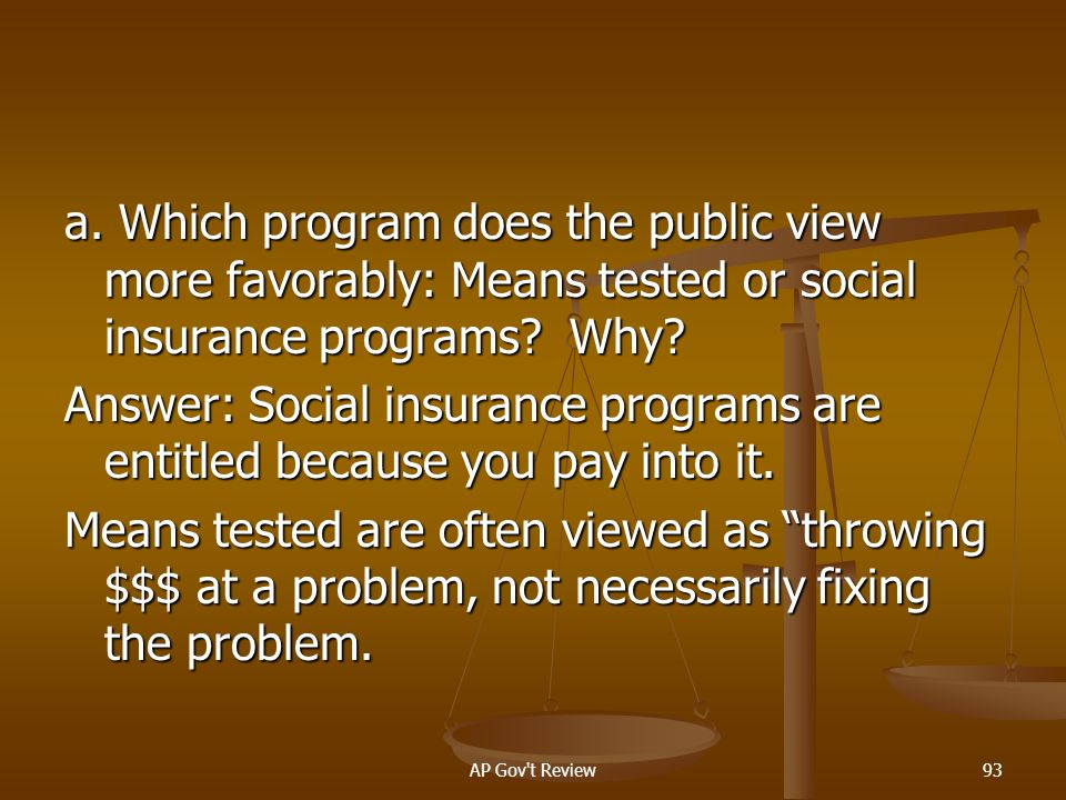 a. Which program does the public view more favorably: Means tested or social insurance programs Why