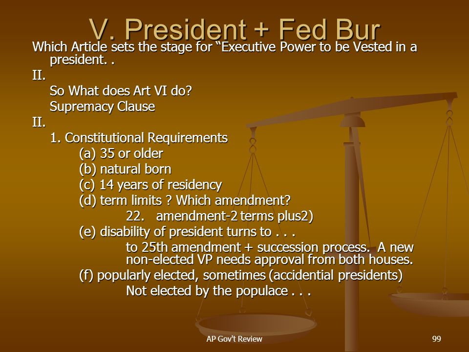 V. President + Fed Bur Which Article sets the stage for Executive Power to be Vested in a president. .