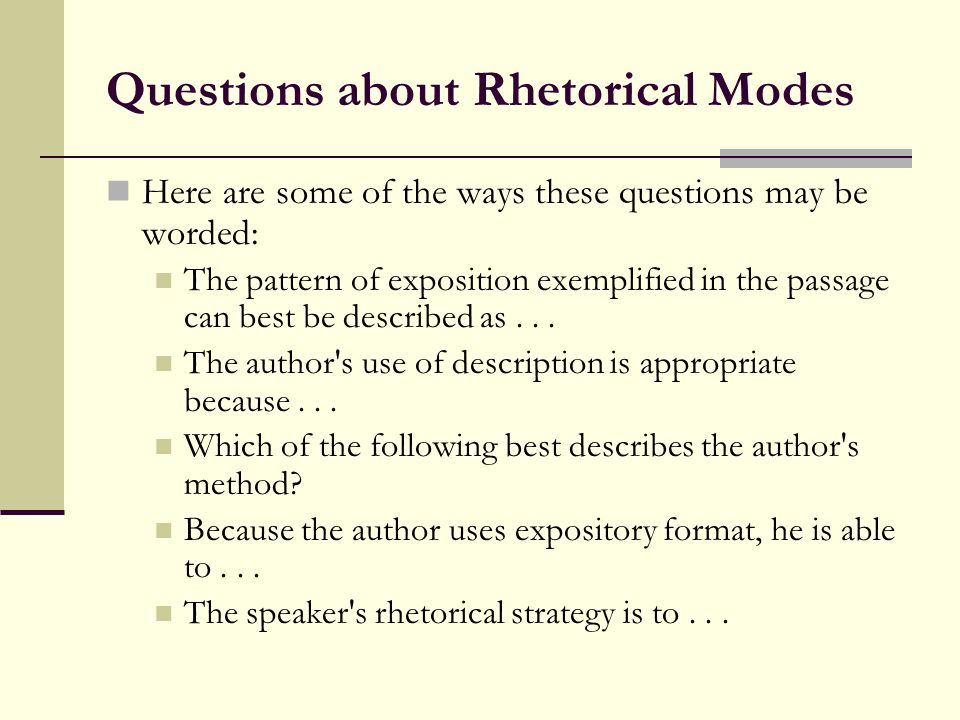 Questions about Rhetorical Modes