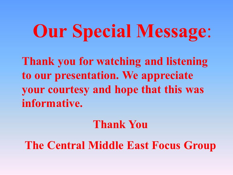 The Central Middle East Focus Group