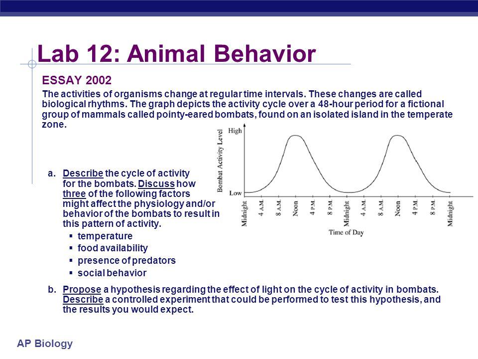 Lab 12: Animal Behavior ESSAY 2002
