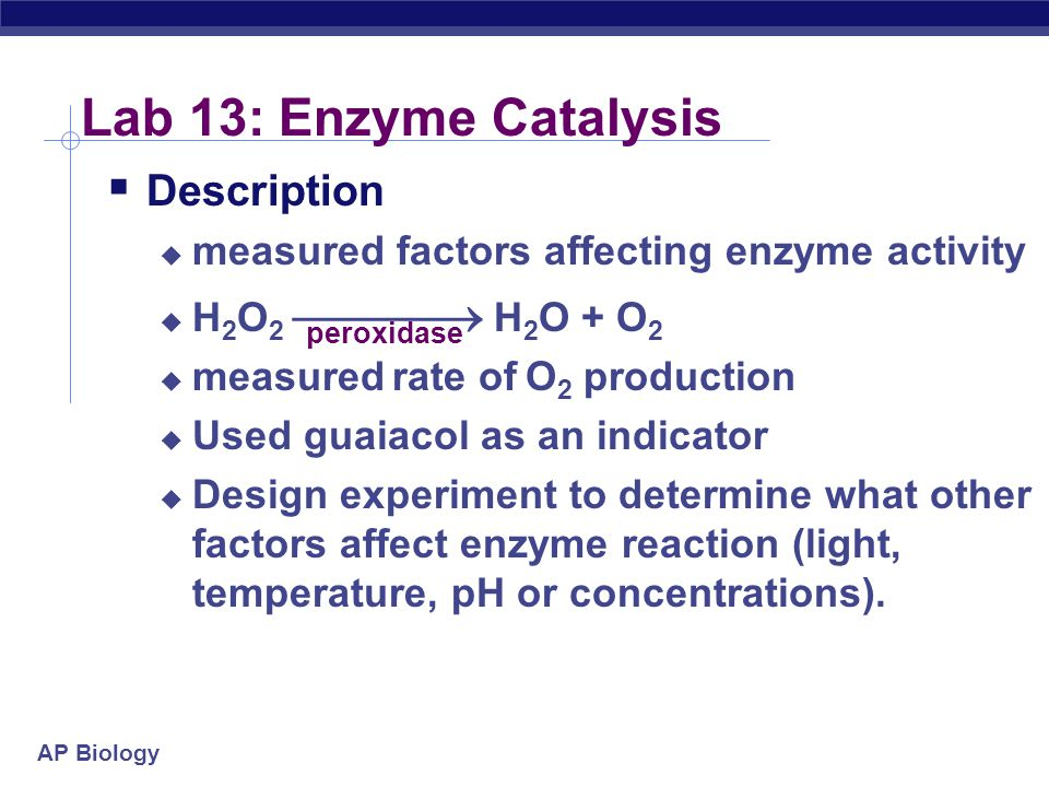 the environmental factors that effect turnip peroxidase essay Turnip peroxidase is made up of guaiacol and hydrogen peroxide  essay on  factors that affect the rate of reaction of peroxidase  the activity of  peroxidase is highly dependent on its environment and most importantly.
