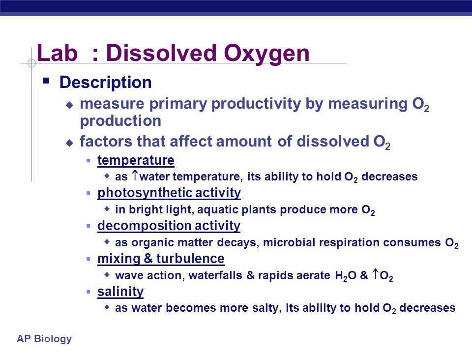 Lab : Dissolved Oxygen Description