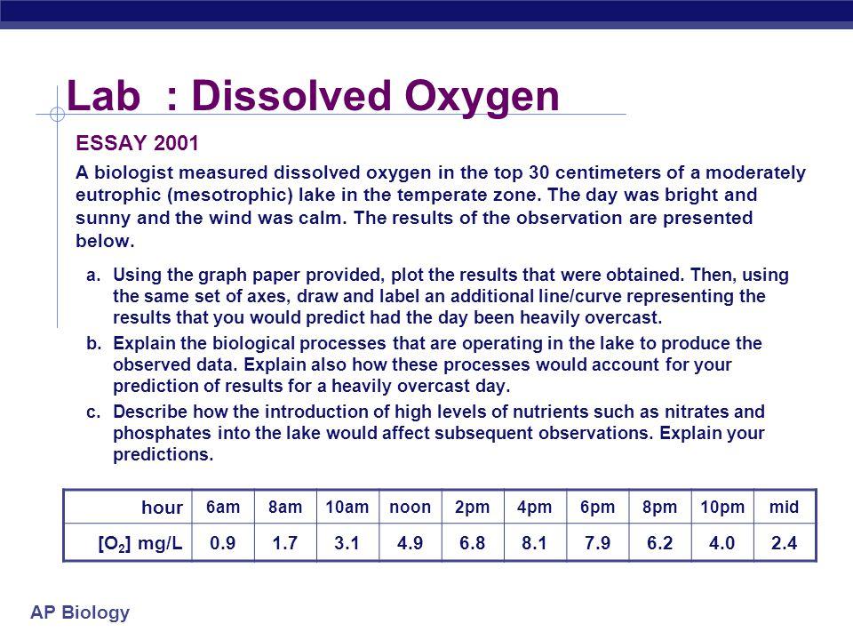 Lab : Dissolved Oxygen ESSAY 2001