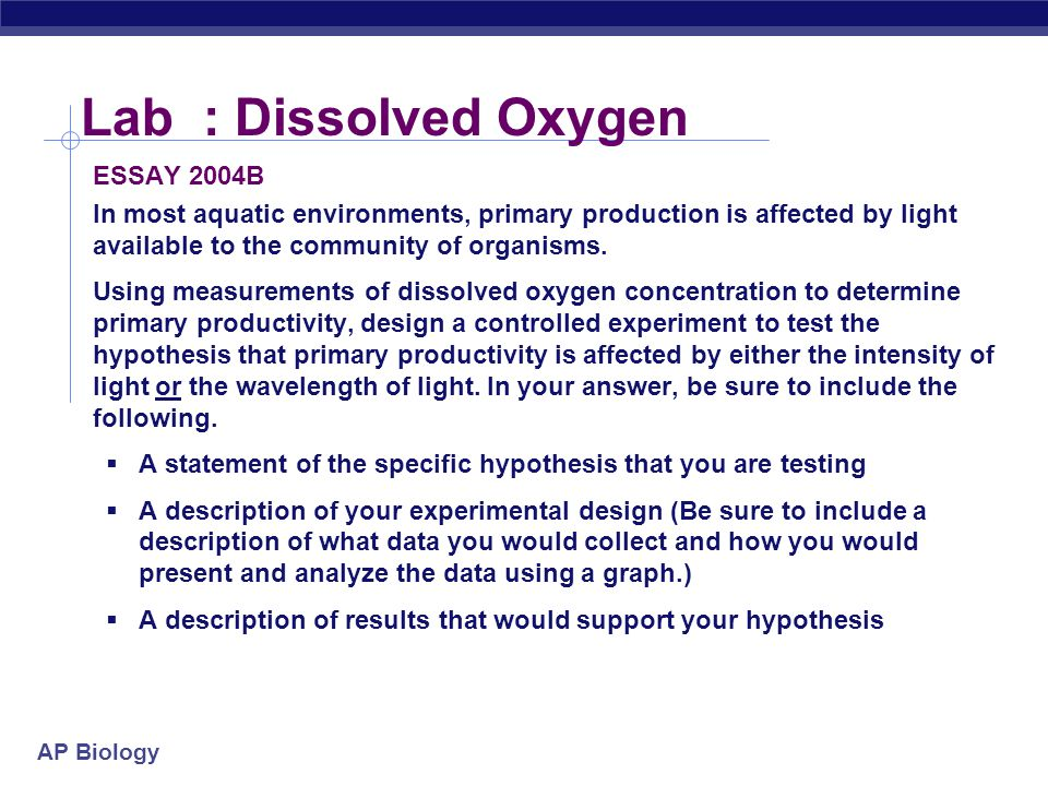 Lab : Dissolved Oxygen ESSAY 2004B