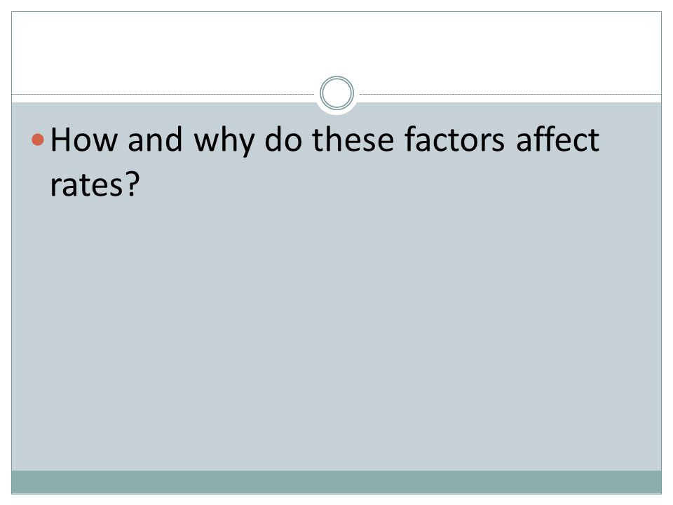 How and why do these factors affect rates