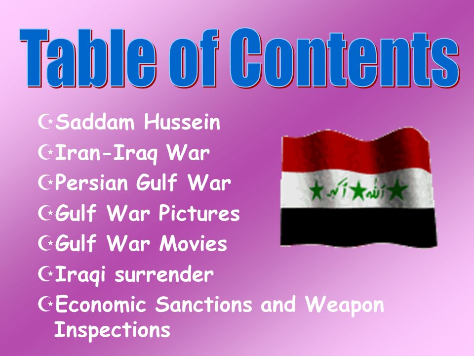 Table of Contents Saddam Hussein Iran-Iraq War Persian Gulf War