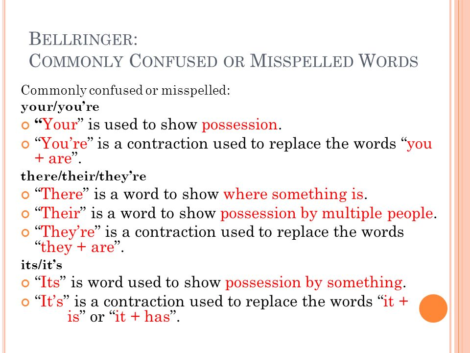 Bellringer: Commonly Confused or Misspelled Words