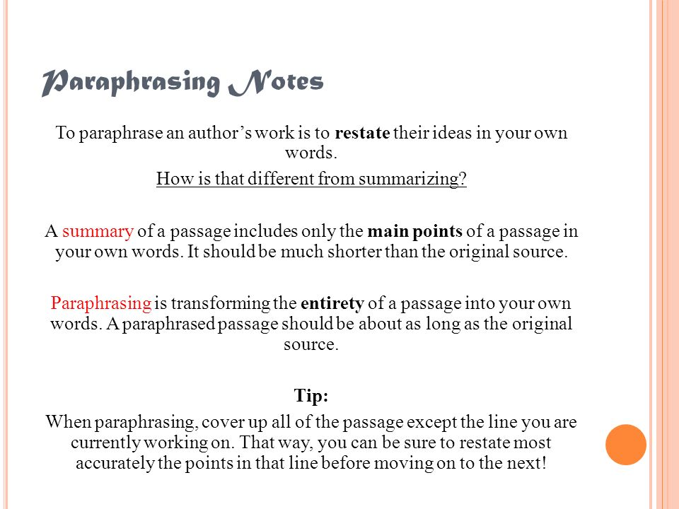 Paraphrasing Notes