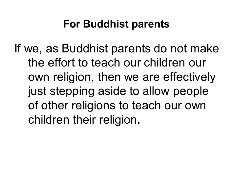 For Buddhist parents