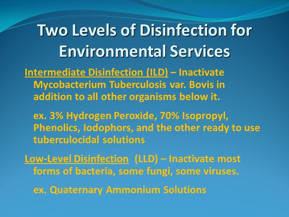 Two Levels of Disinfection for Environmental Services