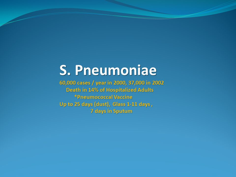 S. Pneumoniae 60,000 cases / year in 2000, 37,000 in 2002