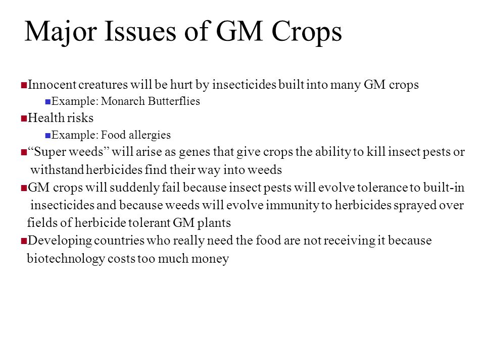 Major Issues of GM Crops