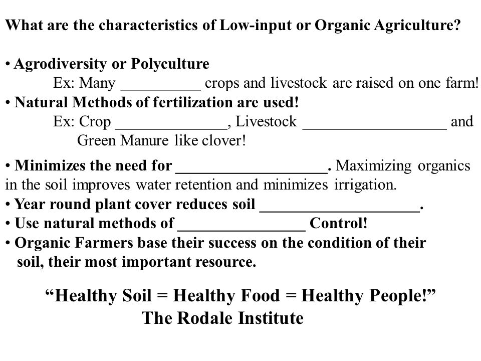 Healthy Soil = Healthy Food = Healthy People! The Rodale Institute