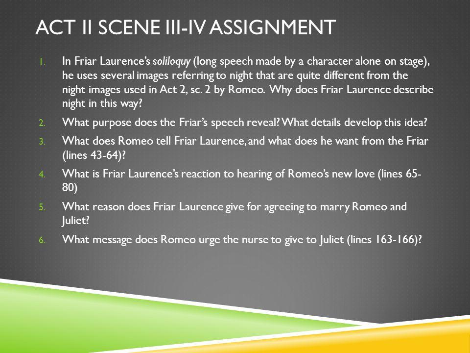 Act II scene iii-iv assignment