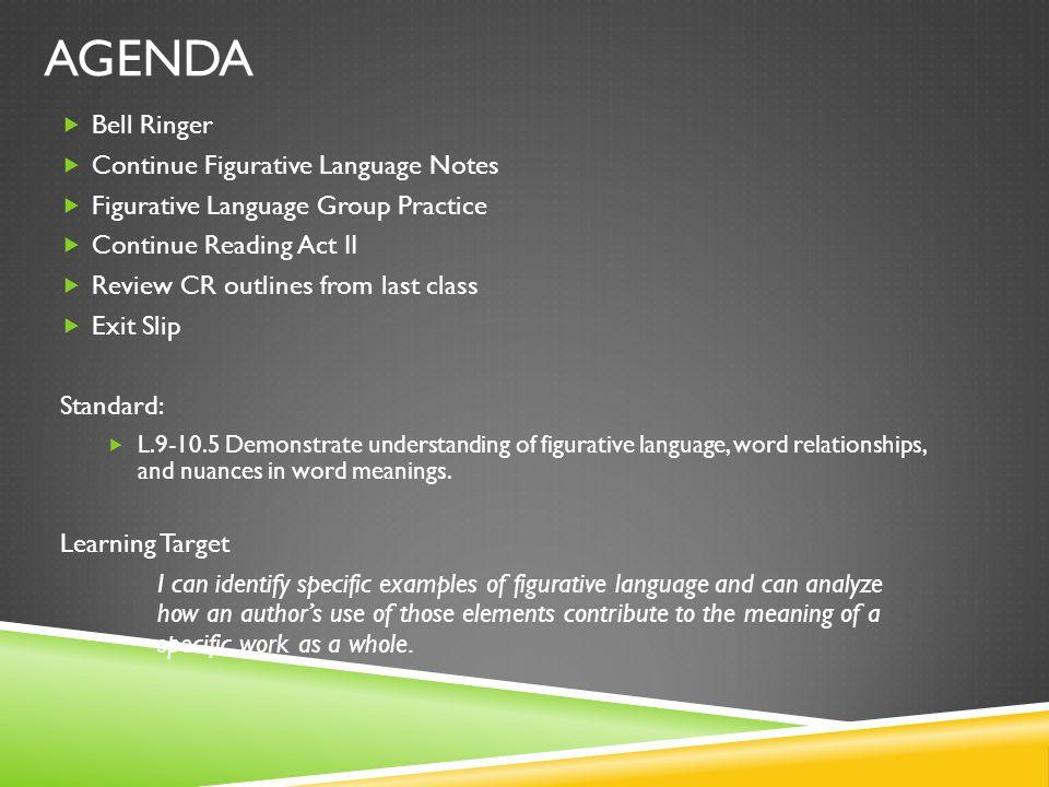 Agenda Bell Ringer Continue Figurative Language Notes