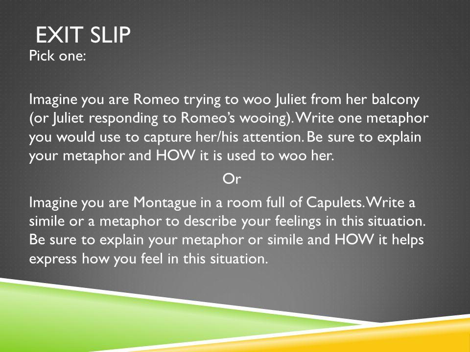Exit Slip Pick one:
