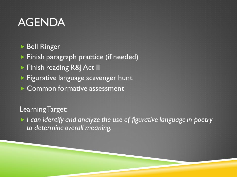 aGENDA Bell Ringer Finish paragraph practice (if needed)