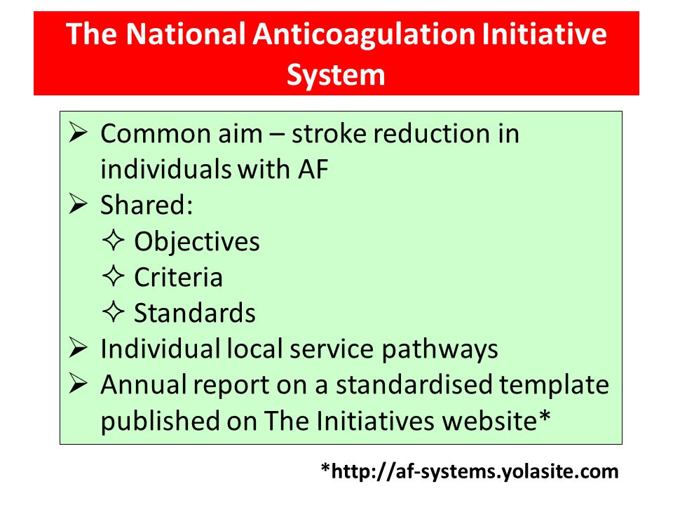 The National Anticoagulation Initiative System