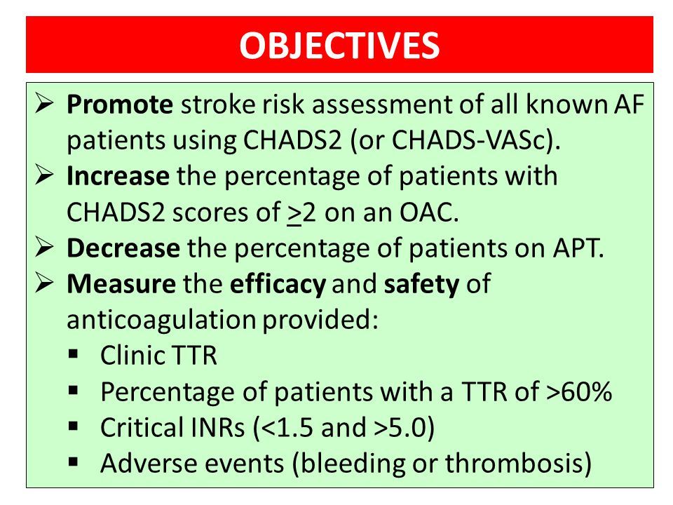 OBJECTIVES Promote stroke risk assessment of all known AF patients using CHADS2 (or CHADS-VASc).