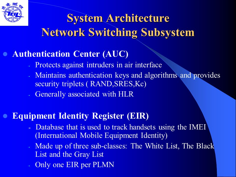 System Architecture Network Switching Subsystem