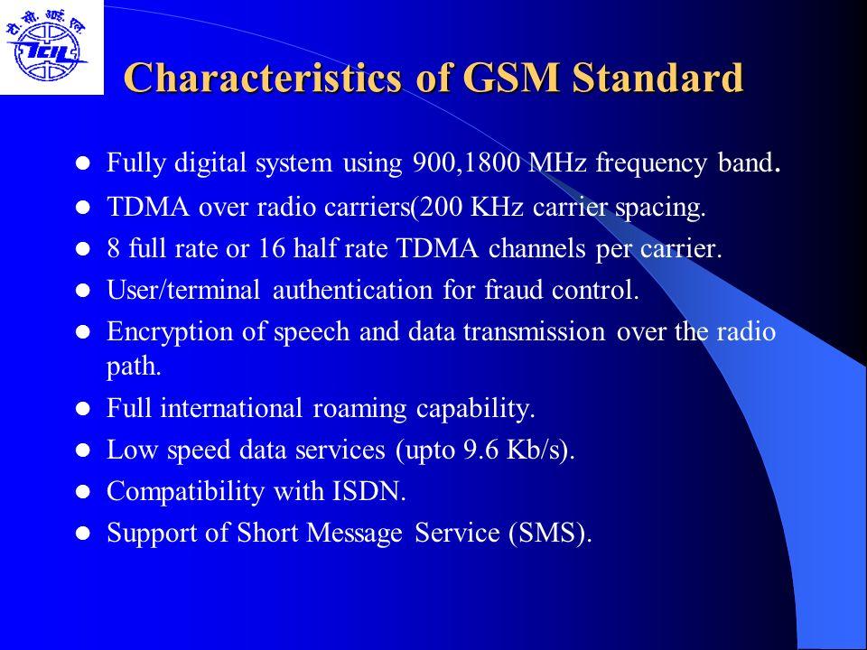 Characteristics of GSM Standard