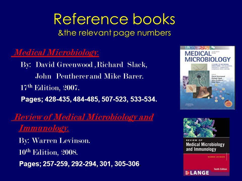 Reference books &the relevant page numbers