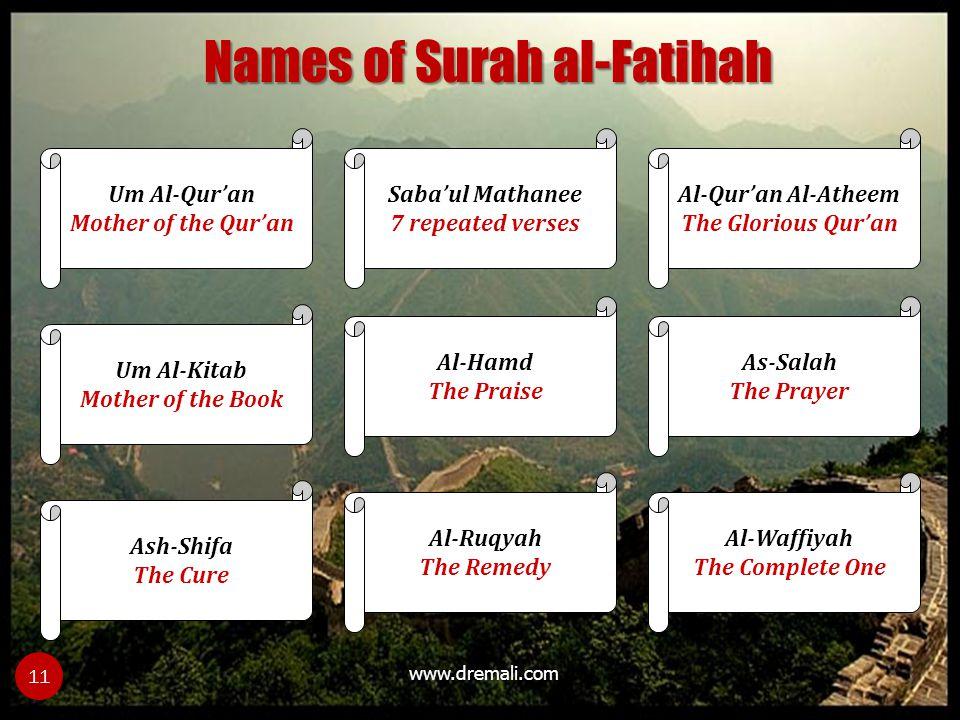 Names of Surah al-Fatihah
