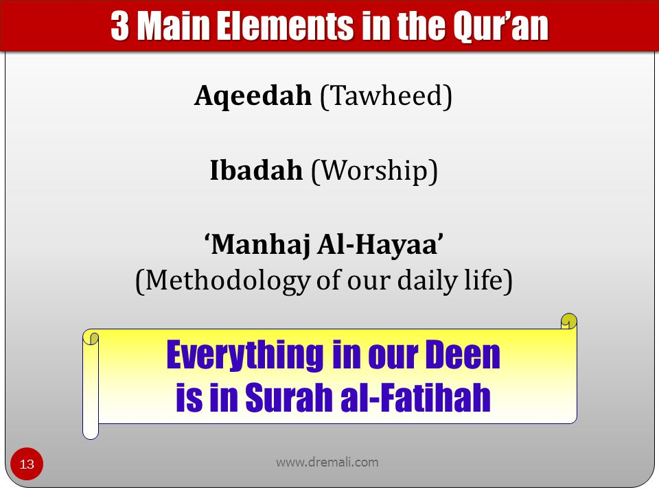 3 Main Elements in the Qur'an