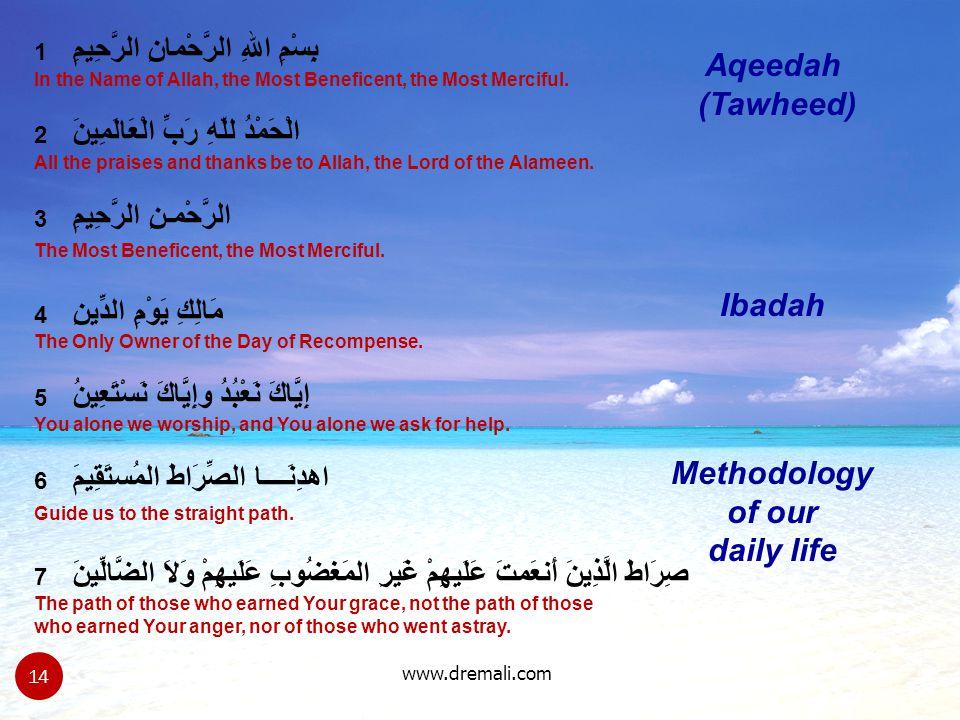Aqeedah (Tawheed) Ibadah Methodology of our daily life
