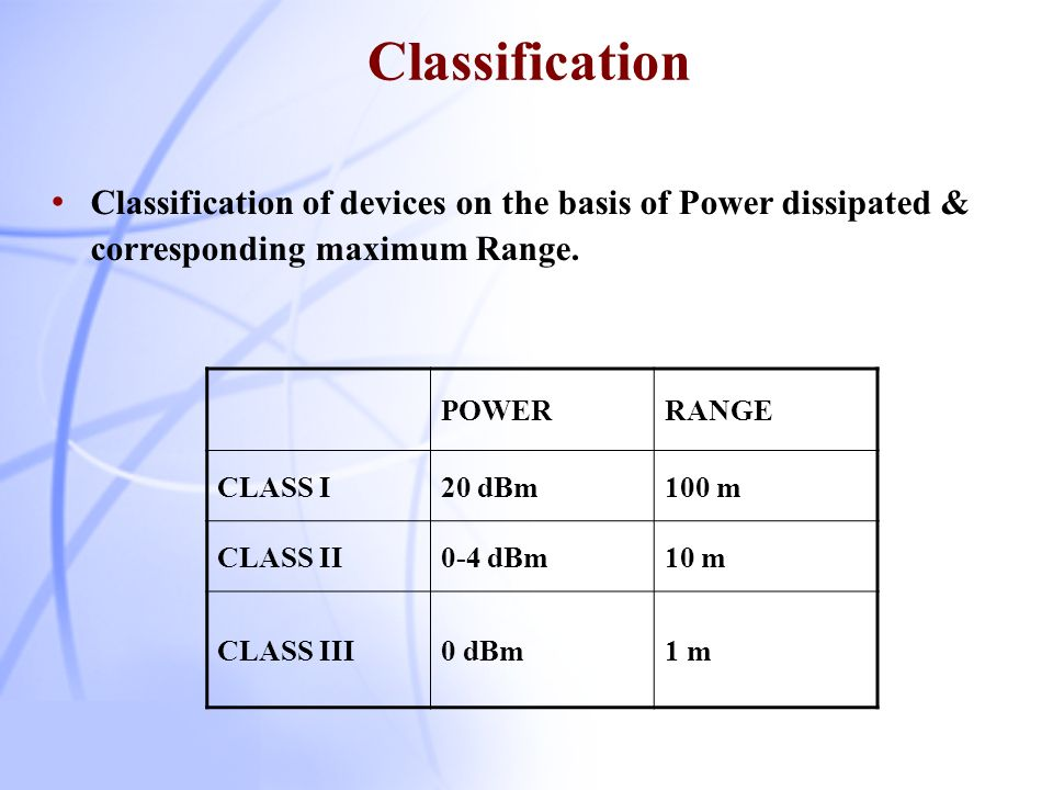 Classification Classification of devices on the basis of Power dissipated & corresponding maximum Range.