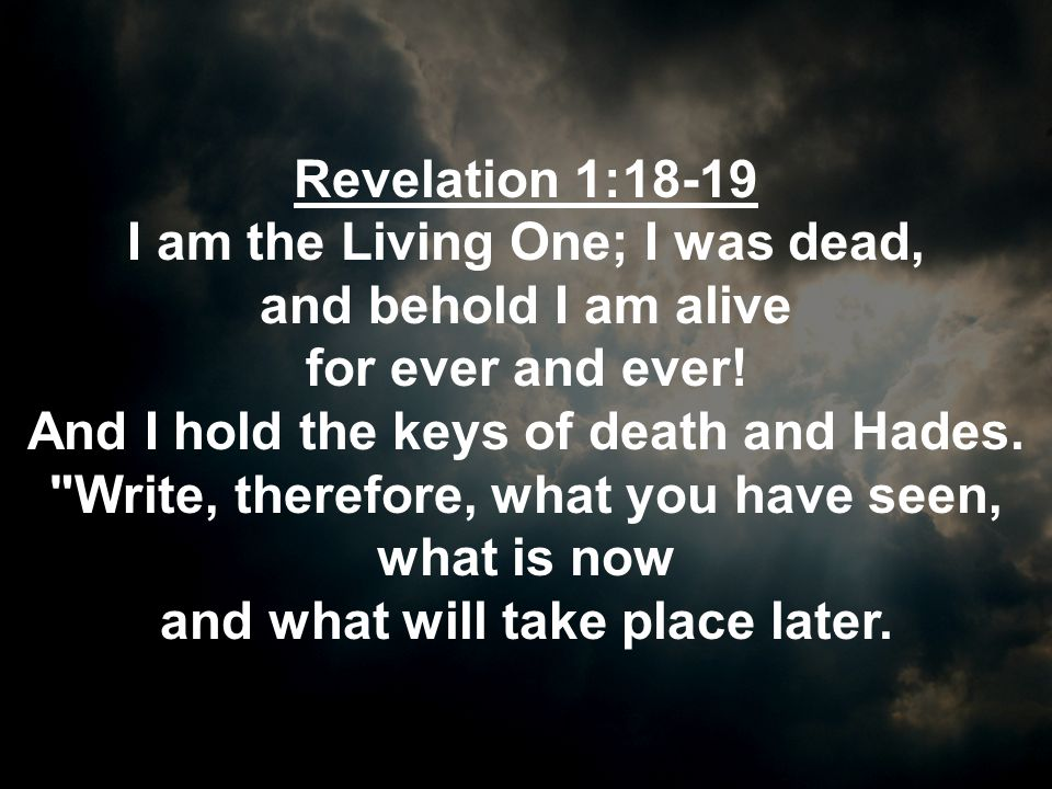 I am the Living One; I was dead, and what will take place later.